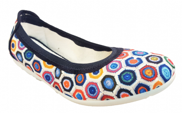 Alisha jewel coloured print EE-4E super comfy summer canvas shoe
